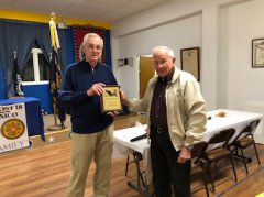 Post 18 Commander, Ray Davis presents a Award of Appreciation  to long-time Post 18 Honor Guard Member and Boys State Delegate (1949).